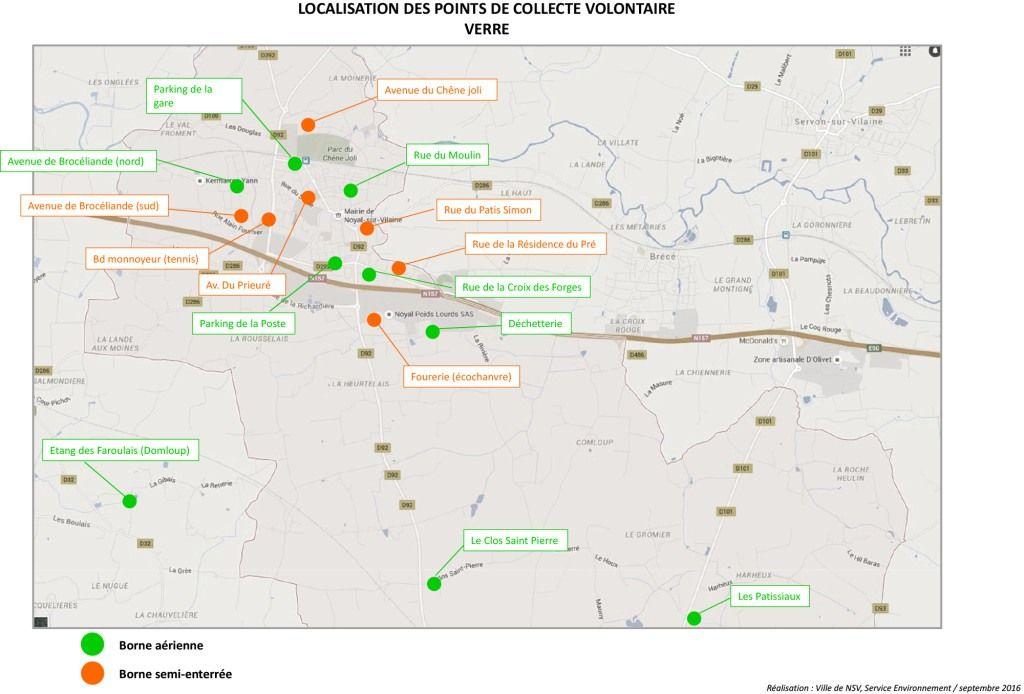 localisation des points de collecte volontaire de verre