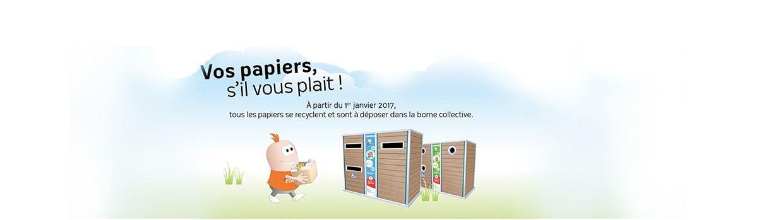 Bandeau de la page 'Tous les papiers se recyclent et sont à déposer dans la borne collective